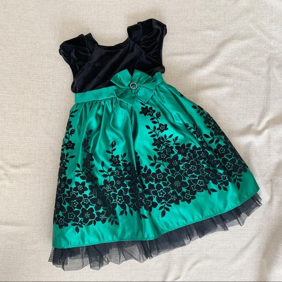 Jona Michelle Other - Black and Green Floral Party Dress